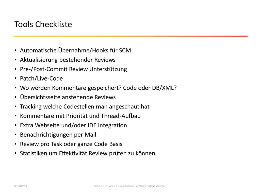 Tools Checkliste • Automatische Übernahme/Hooks...