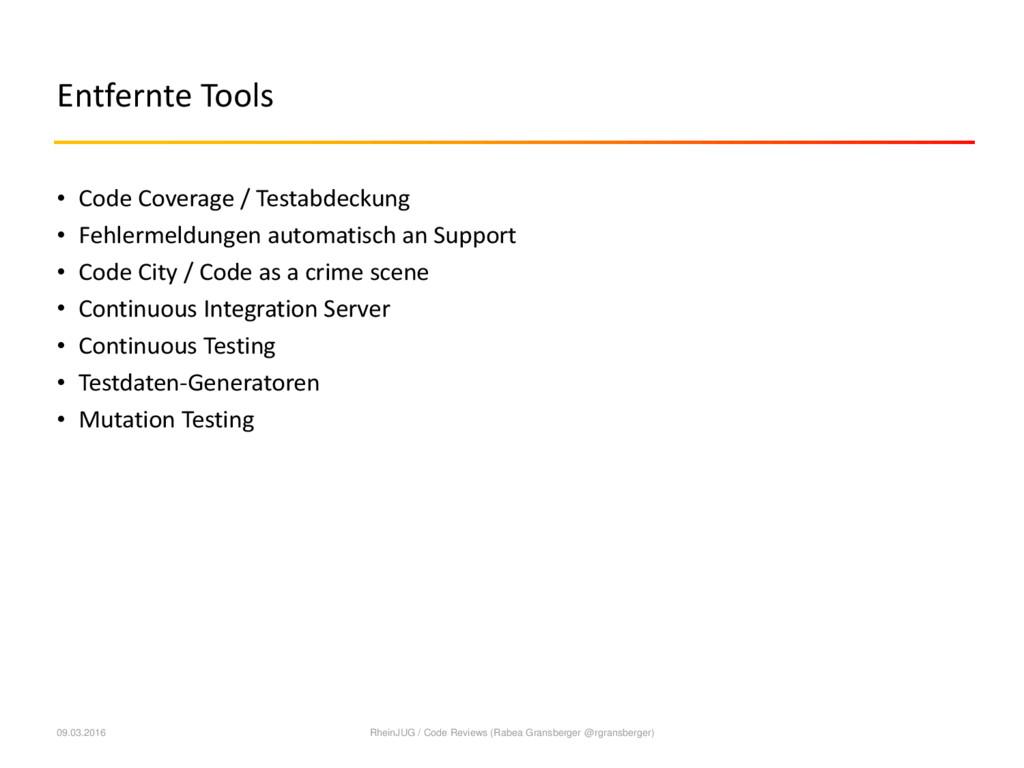 Entfernte Tools • Code Coverage / Testabdeckung...