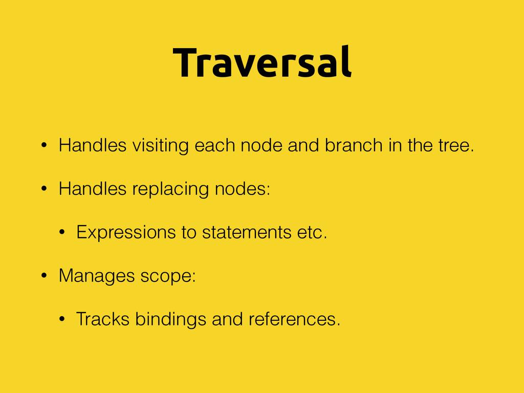 Traversal • Handles visiting each node and bran...
