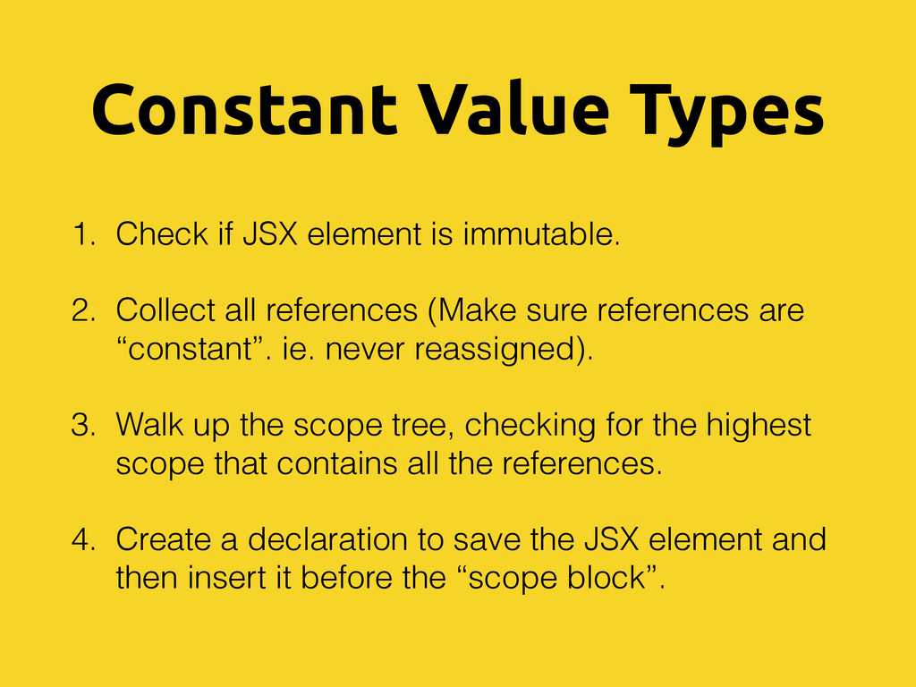 Constant Value Types 1. Check if JSX element is...