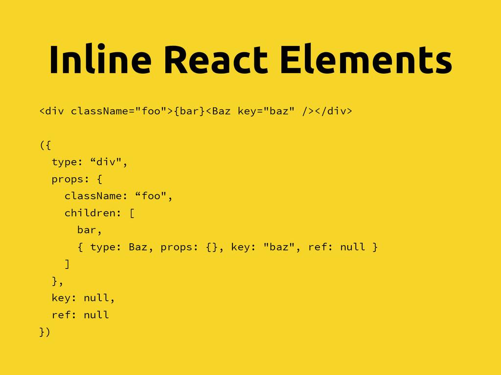 "Inline React Elements <div className=""foo"">{bar..."