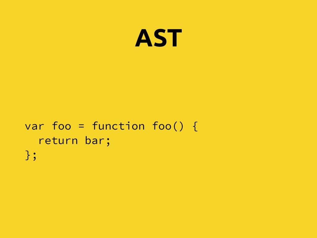 AST var foo = function foo() { return bar; };