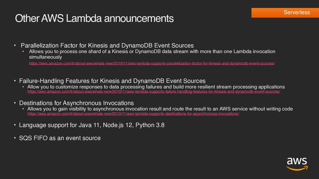 Other AWS Lambda announcements • Parallelizatio...