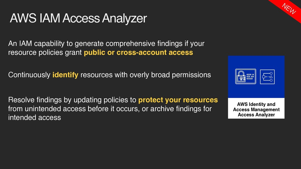 AWS IAM Access Analyzer An IAM capability to ge...