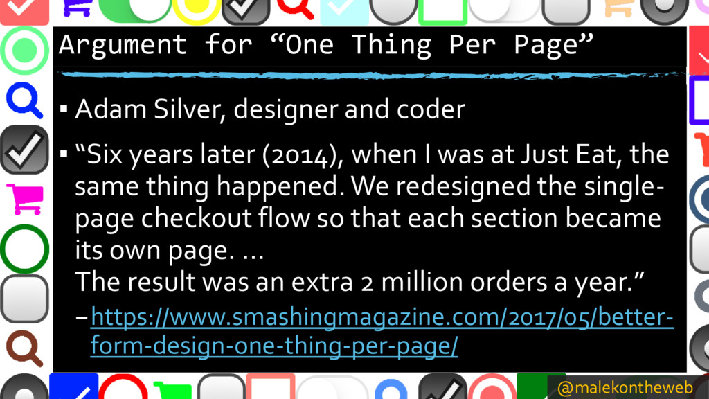 """@malekontheweb Argument for """"One Thing Per Page..."""