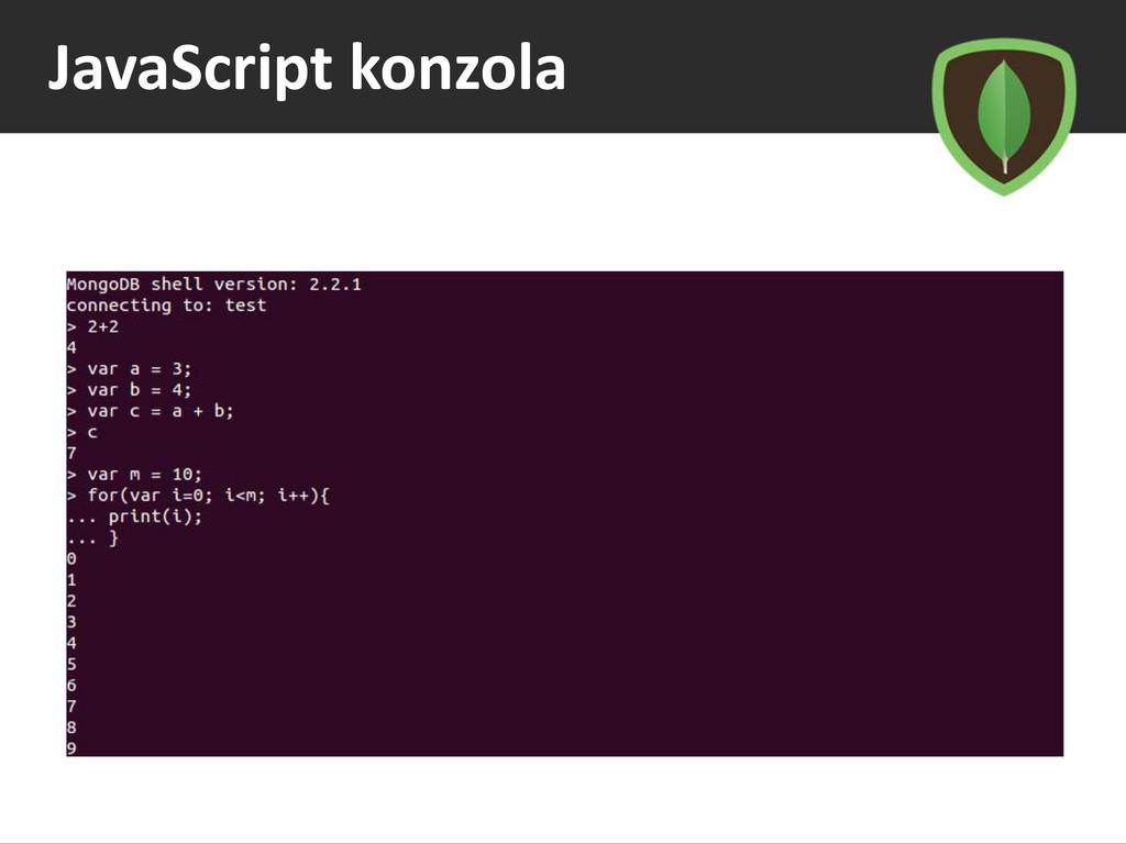 JavaScript konzola