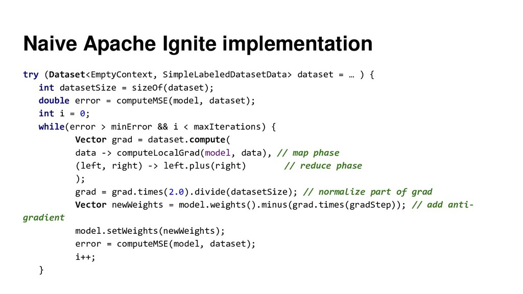 Naive Apache Ignite implementation try (Dataset...