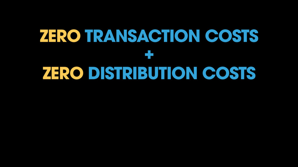 ZERO TRANSACTION COSTS + ZERO DISTRIBUTION COSTS