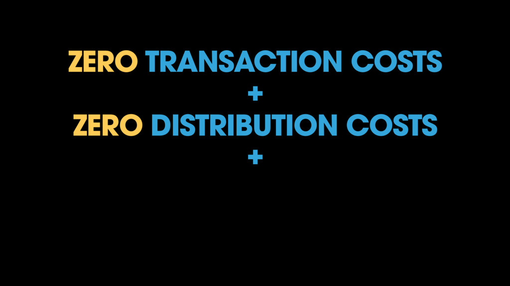 ZERO TRANSACTION COSTS + ZERO DISTRIBUTION COST...