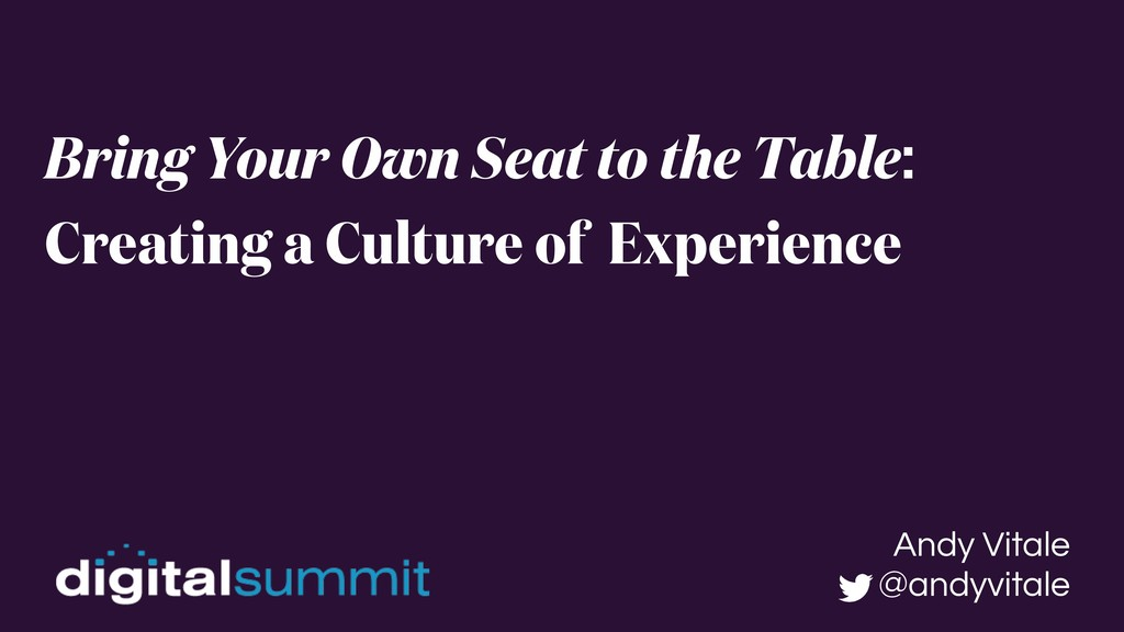 Bring Your Own Seat to the Table: Creating a Cu...