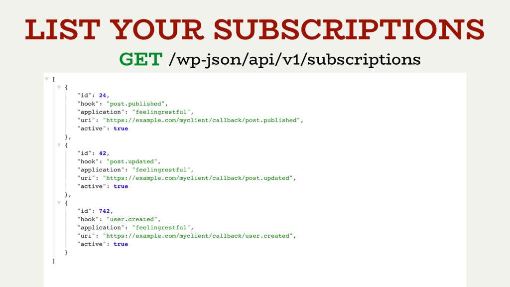 GET /wp-json/api/v1/subscriptions LIST YOUR SUB...