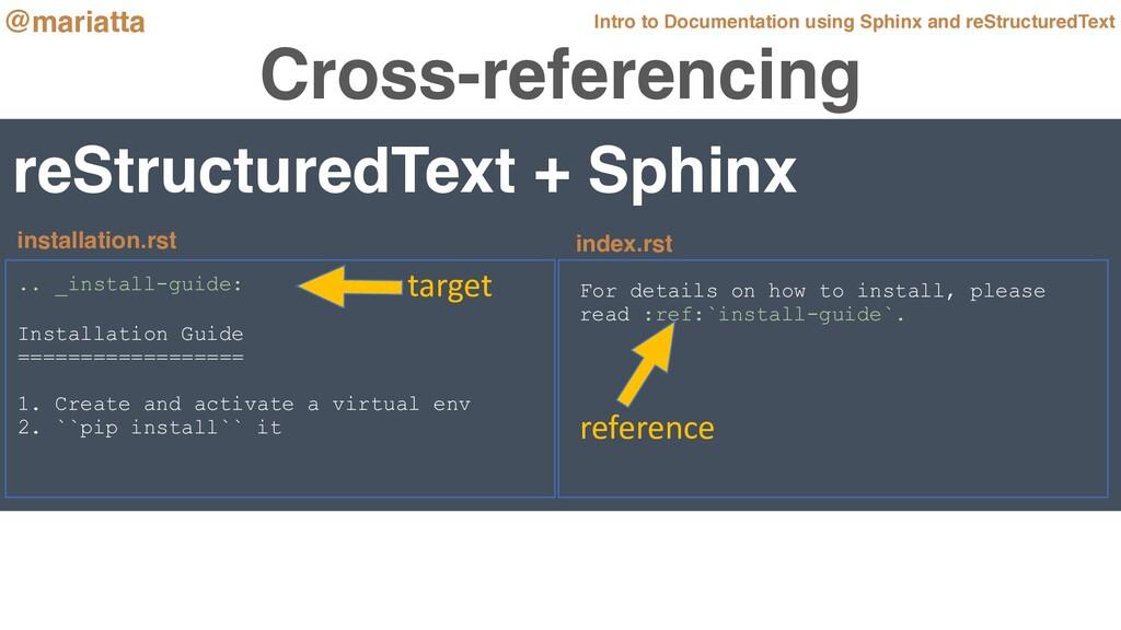 Cross-referencing reStructuredText + Sphinx .. ...