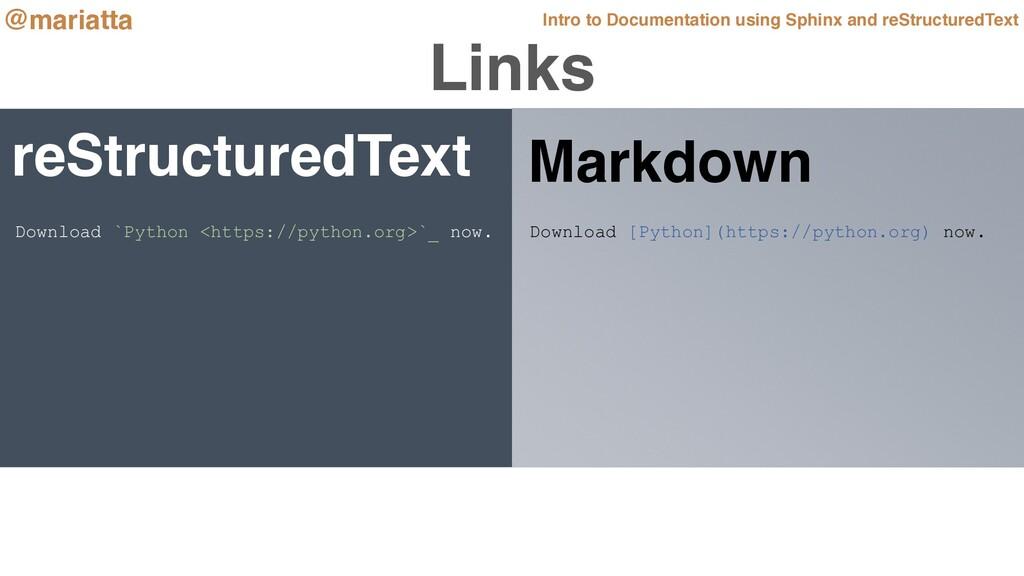 Links reStructuredText Download [Python](https:...