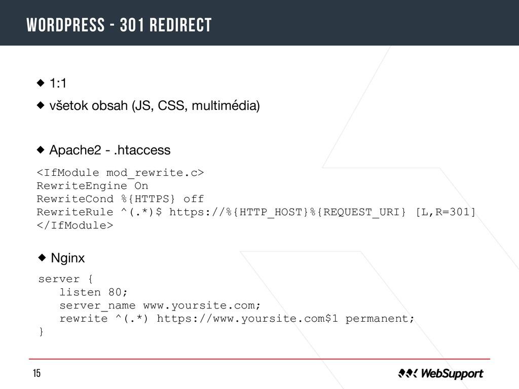 15 Wordpress - 301 redirect 1:1  všetok obsah (...