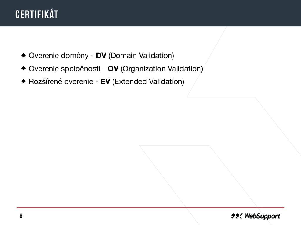 8 certifikát Overenie domény - DV (Domain Valid...