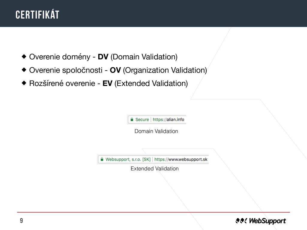 9 certifikát Overenie domény - DV (Domain Valid...
