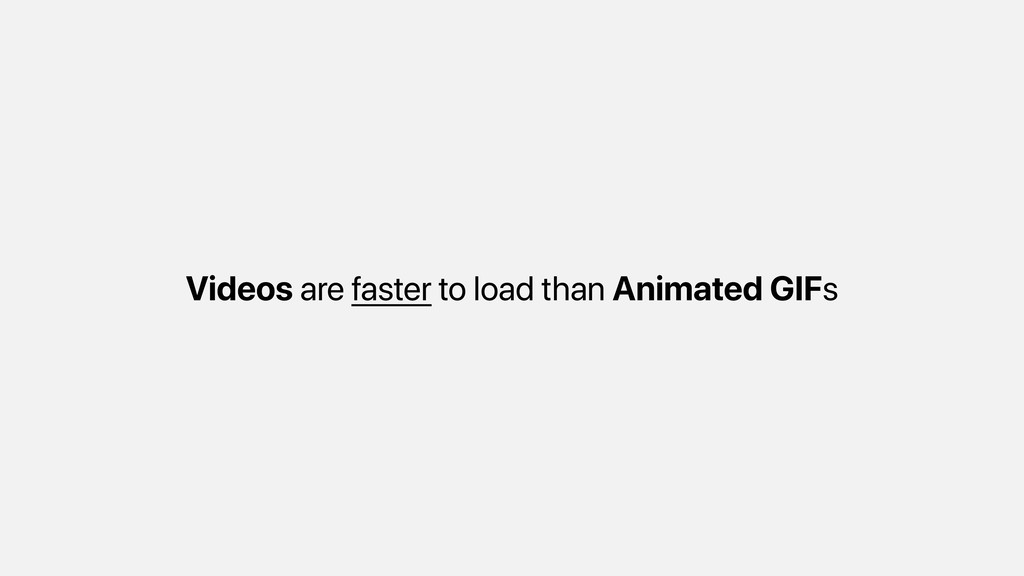 Videos are faster to load than Animated GIFs