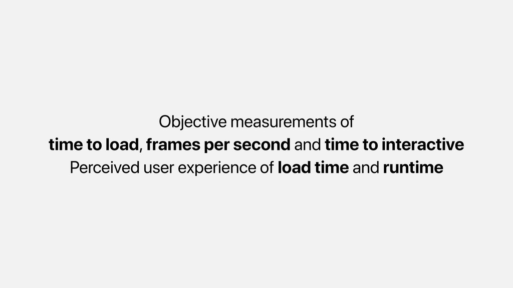 Objective measurements of time to load, frames ...