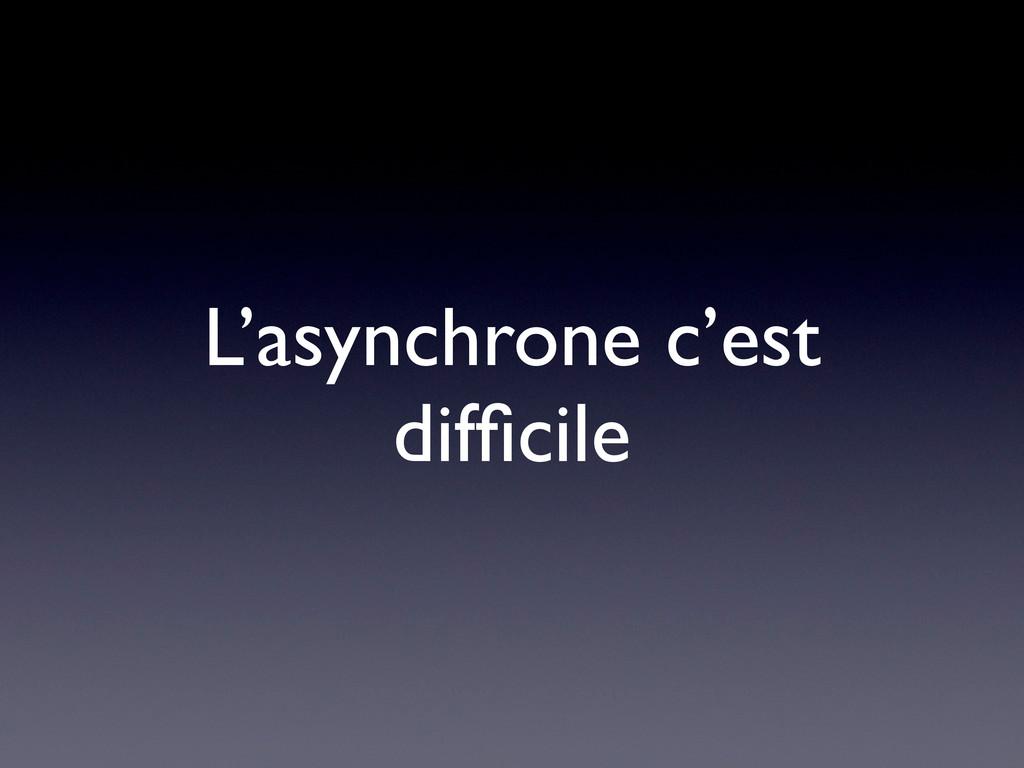 L'asynchrone c'est difficile