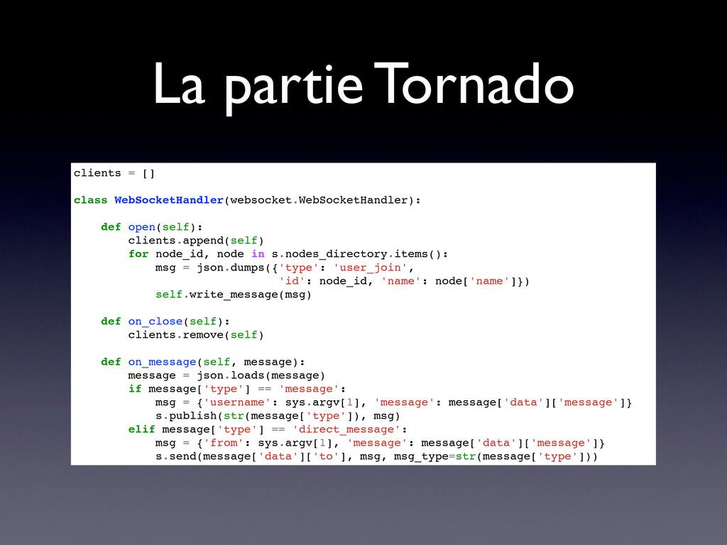La partie Tornado clients = [] class WebSocketH...