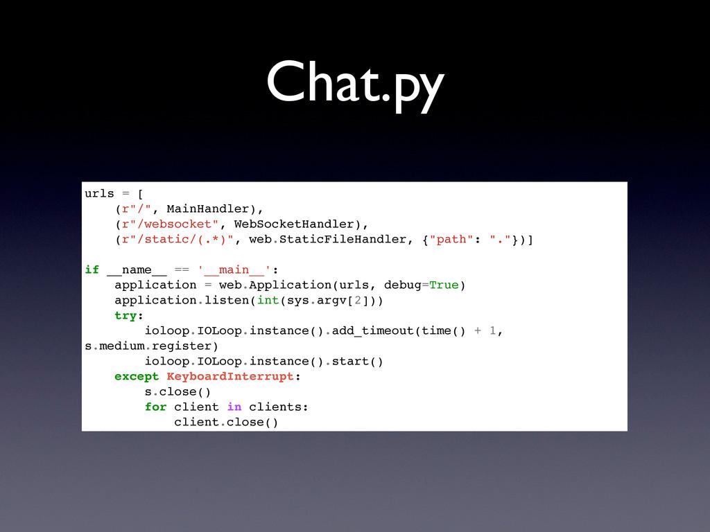 """Chat.py urls = [ (r""""/"""", MainHandler), (r""""/webso..."""