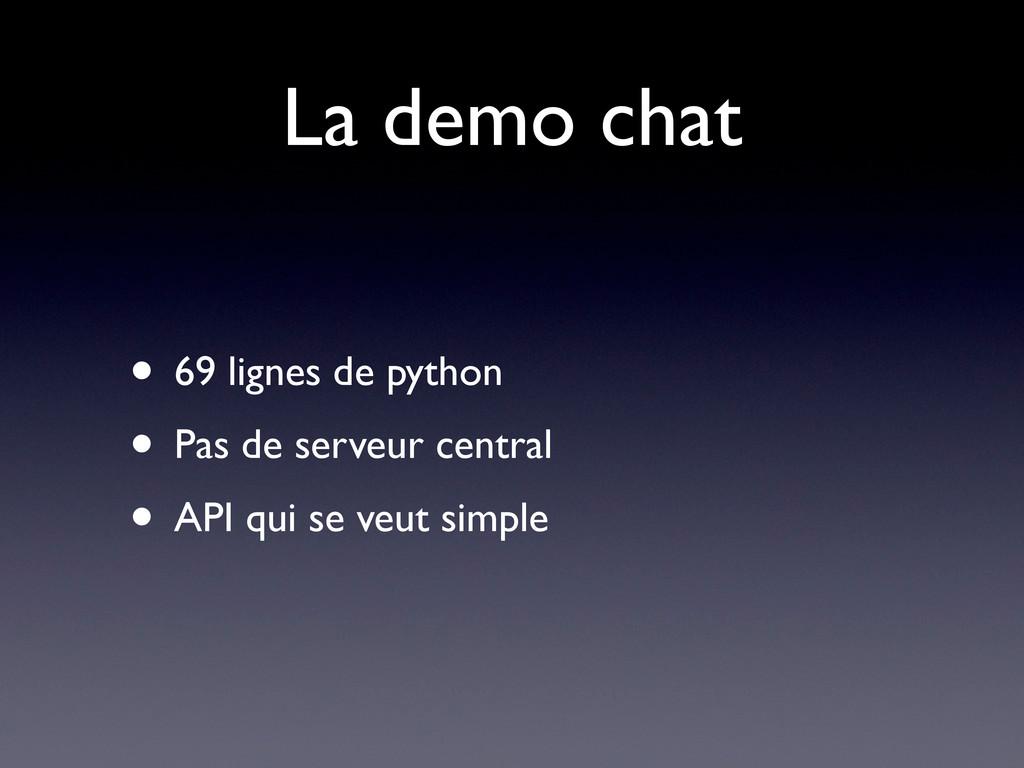 La demo chat • 69 lignes de python • Pas de ser...