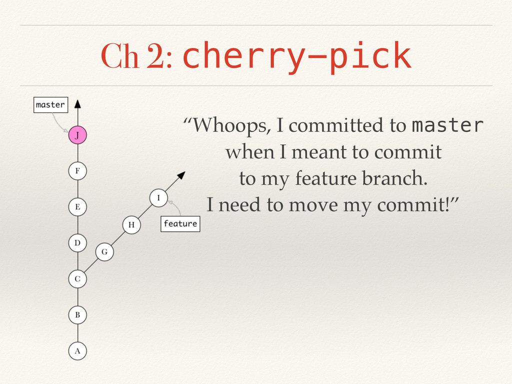 "Ch 2: cherry-pick ""Whoops, I committed to maste..."
