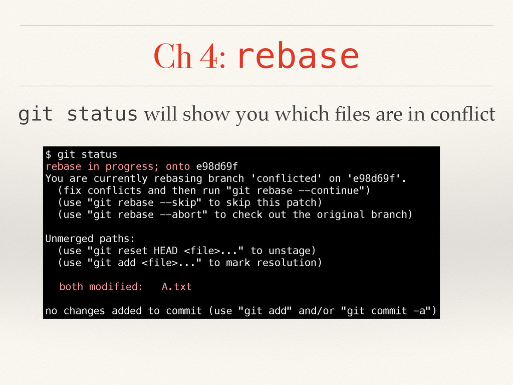 Ch 4: rebase $ git status rebase in progress; o...
