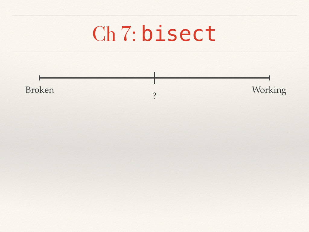 Ch 7: bisect Broken Working ?