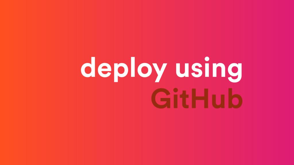 deploy using GitHub