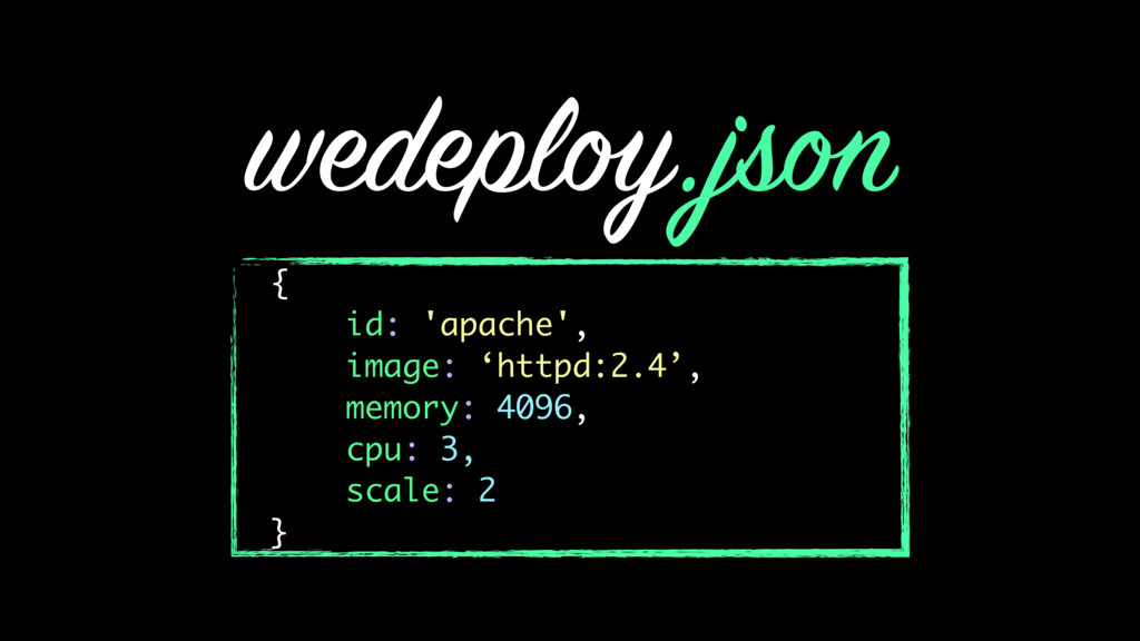 wedeploy.json { id: 'apache', image: 'httpd:2.4...