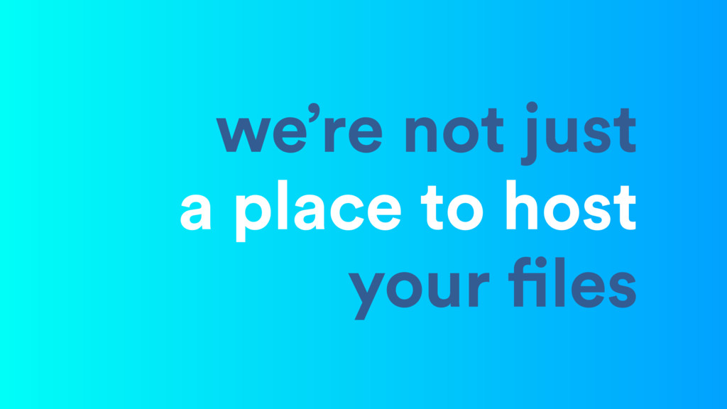we're not just a place to host your files