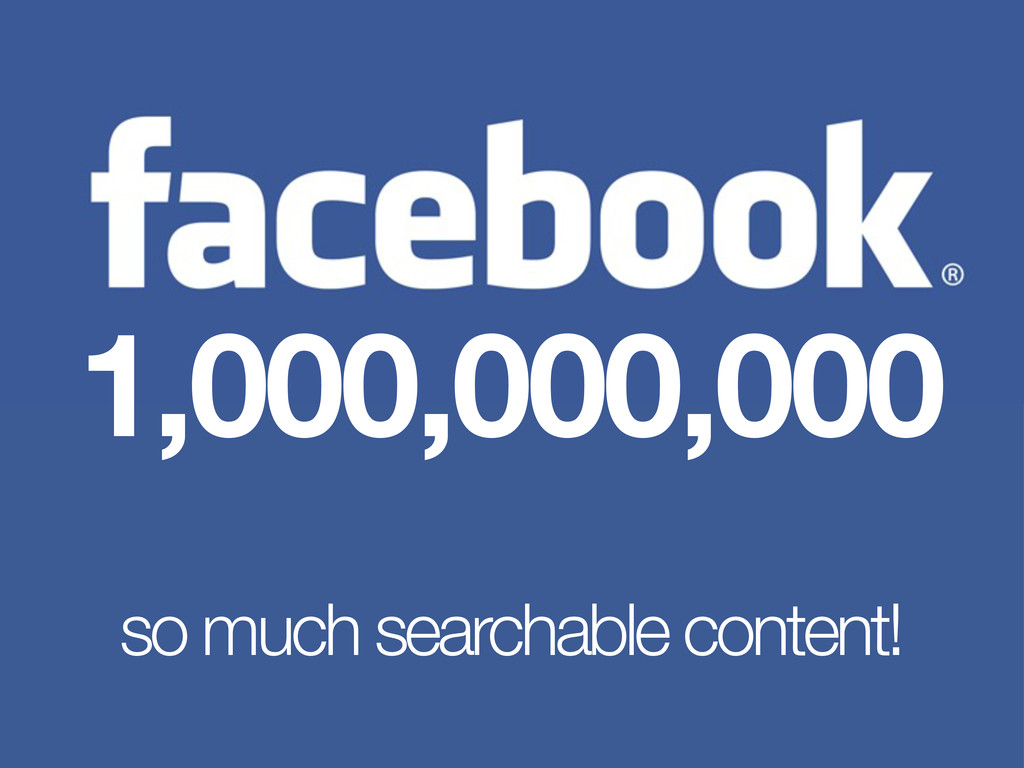 1,000,000,000 so much searchable content!