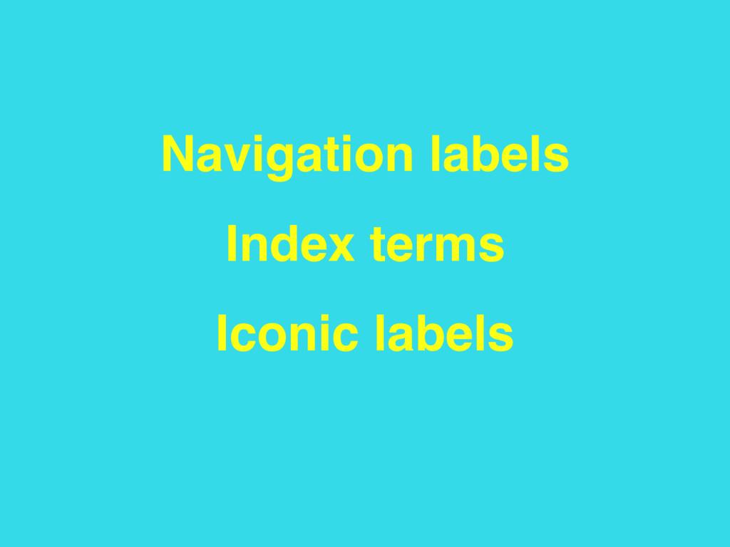 Navigation labels Index terms Iconic labels
