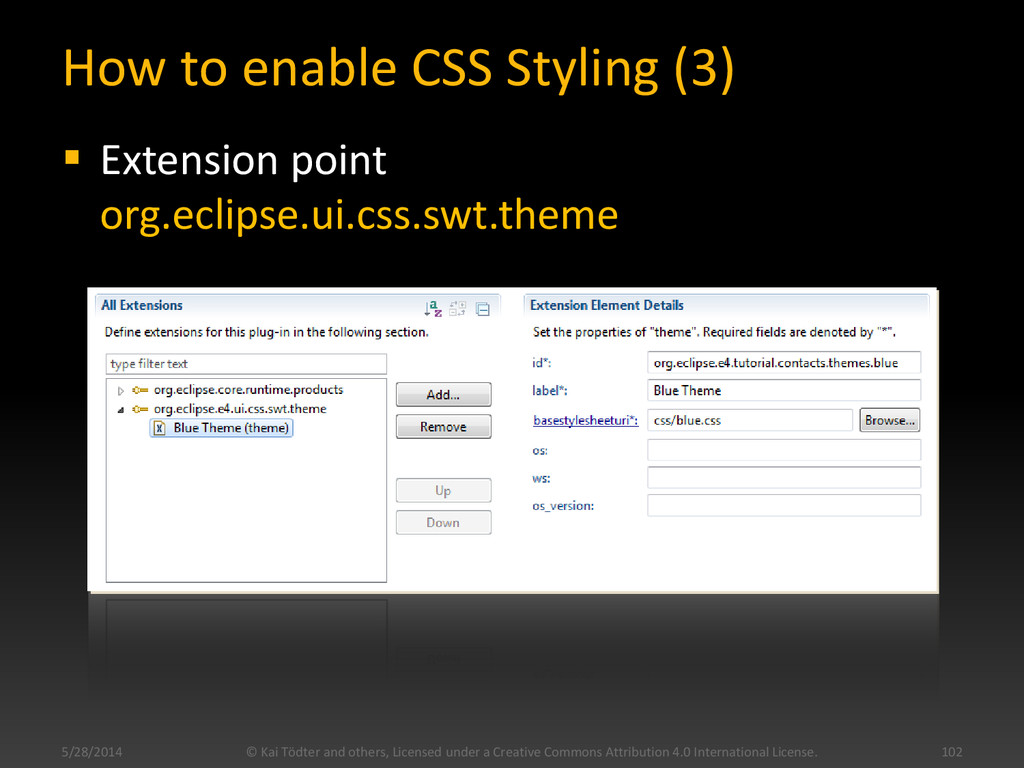 How to enable CSS Styling (3)  Extension point...