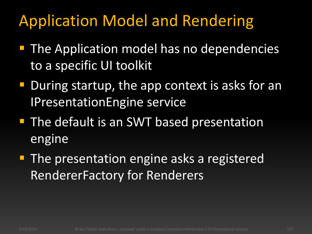 Application Model and Rendering  The Applicati...