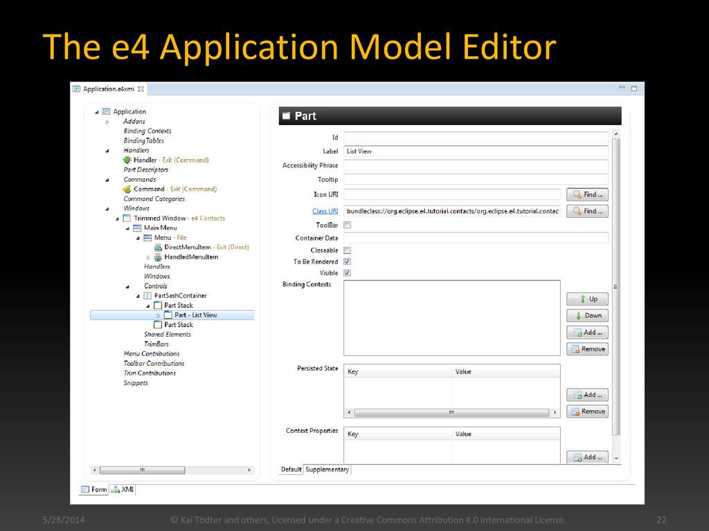 The e4 Application Model Editor 5/28/2014 22 © ...