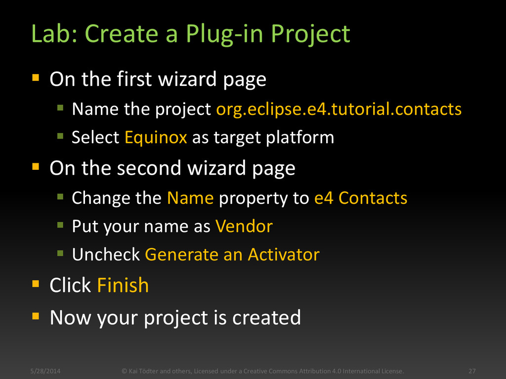 Lab: Create a Plug-in Project  On the first wi...