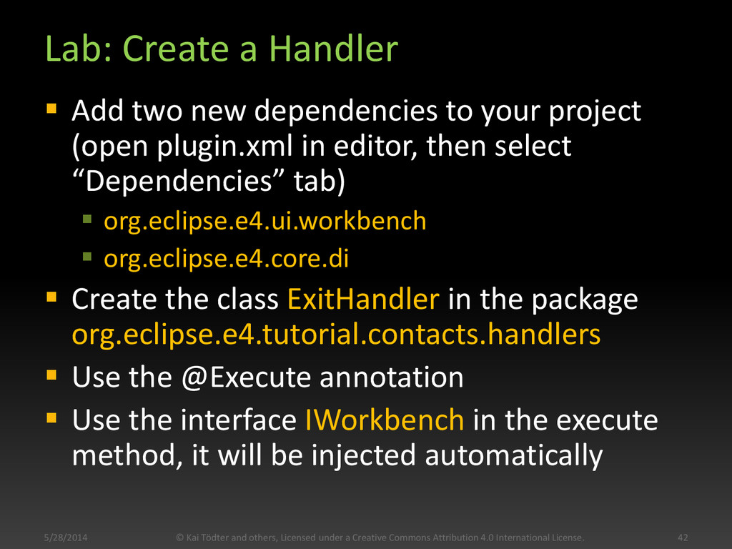 Lab: Create a Handler  Add two new dependencie...