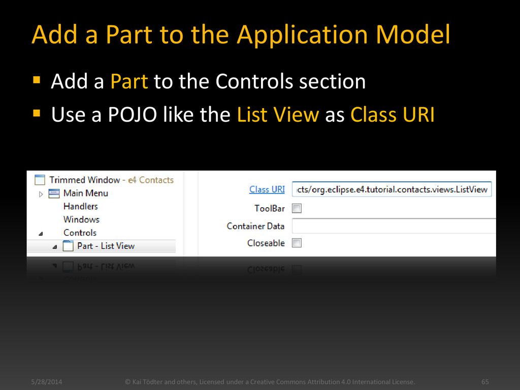 Add a Part to the Application Model  Add a Par...