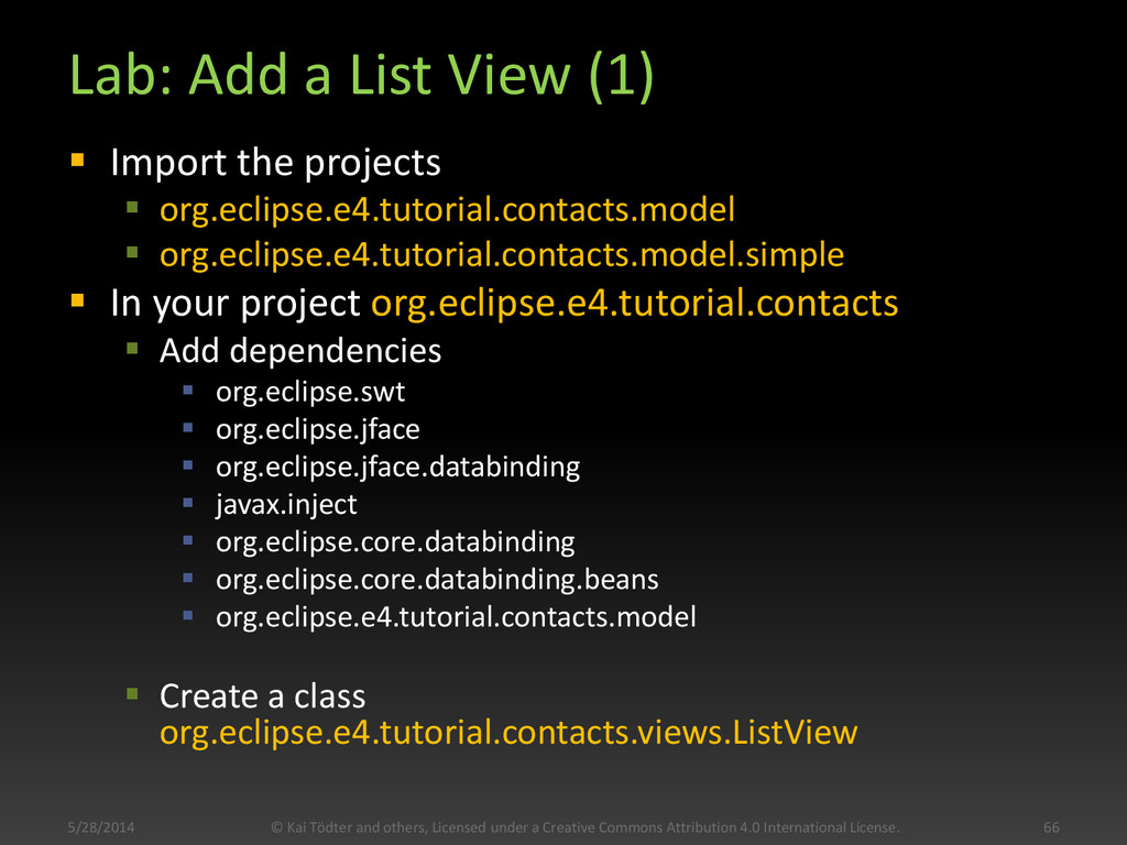 Lab: Add a List View (1)  Import the projects ...