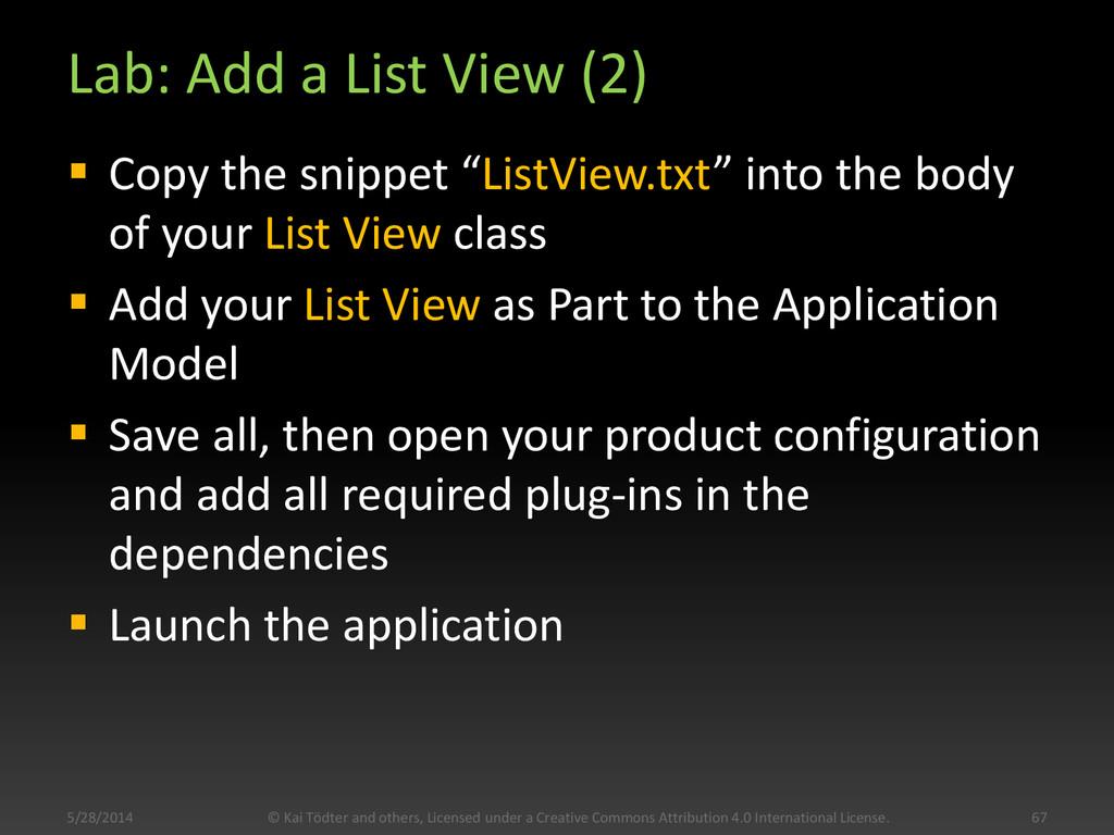 """Lab: Add a List View (2)  Copy the snippet """"Li..."""