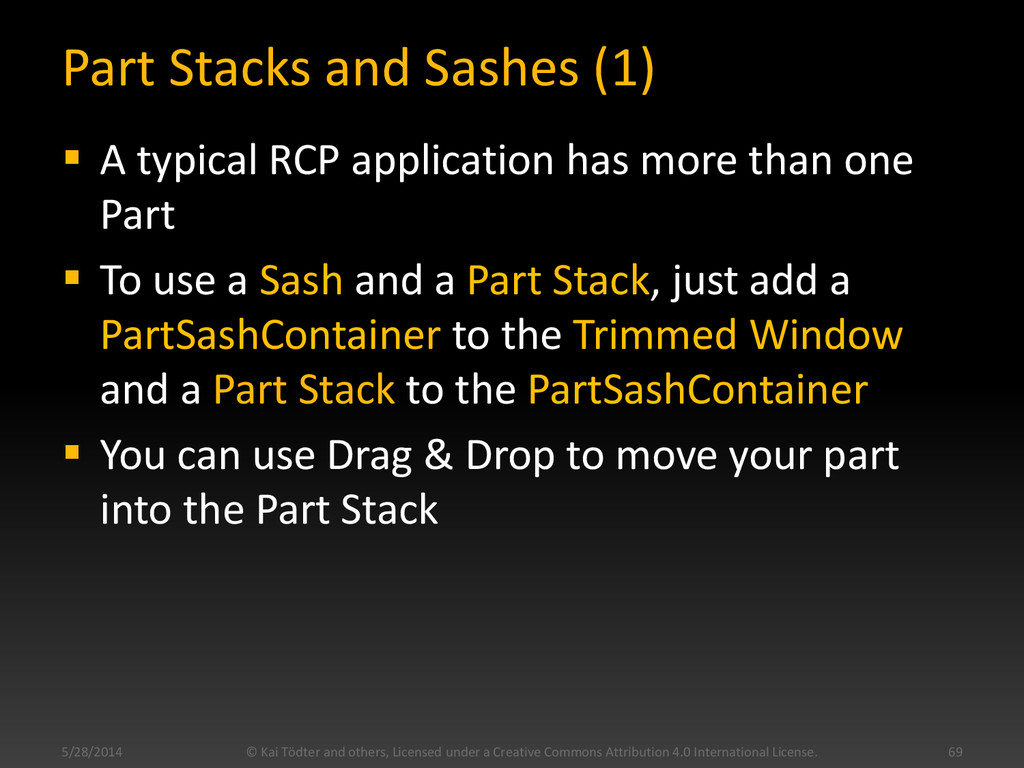 Part Stacks and Sashes (1)  A typical RCP appl...