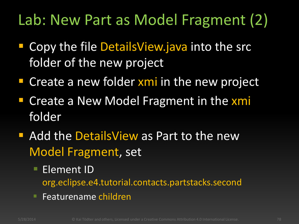 Lab: New Part as Model Fragment (2)  Copy the ...