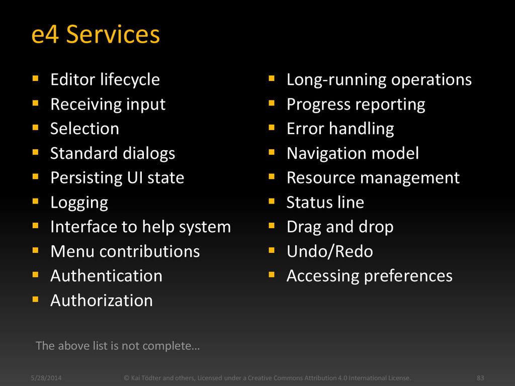 e4 Services  Editor lifecycle  Receiving inpu...