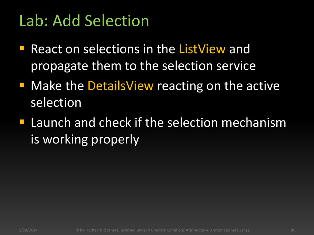Lab: Add Selection  React on selections in the...