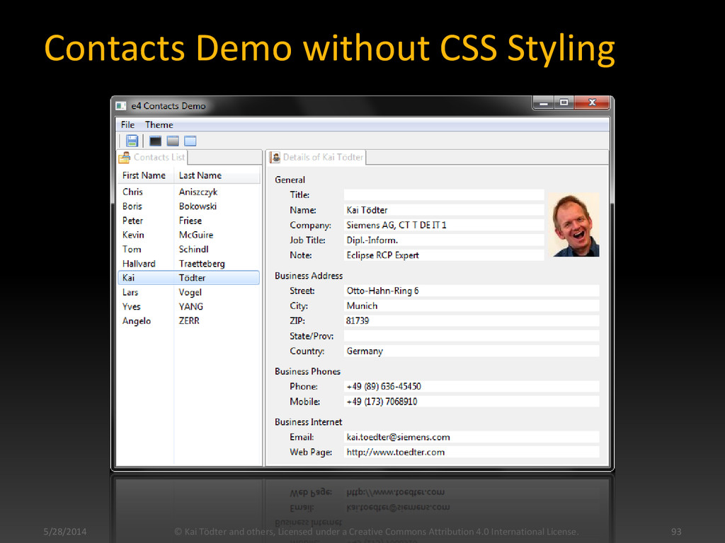 Contacts Demo without CSS Styling 5/28/2014 © K...