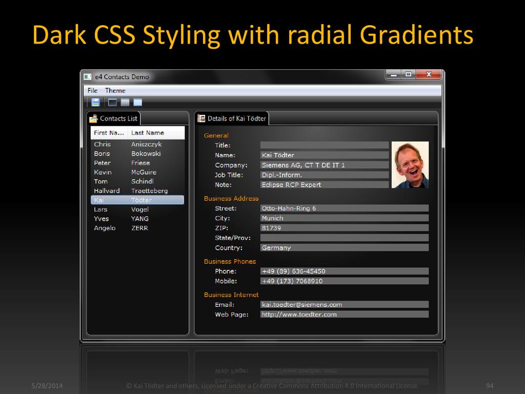 Dark CSS Styling with radial Gradients © Kai Tö...