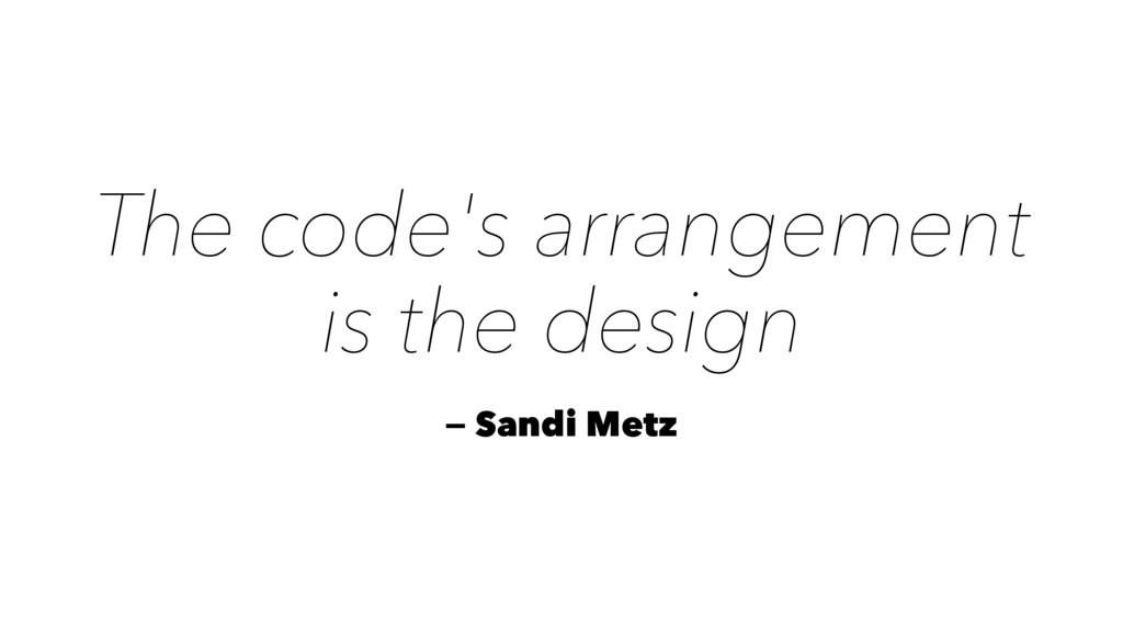 The code's arrangement is the design — Sandi Me...