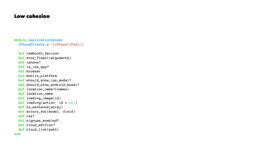 Low cohesion module ApplicationHelper IPhoneCli...